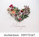 Heart Symbol Made Of Flowers...
