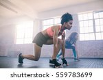 two young women doing workout... | Shutterstock . vector #559783699