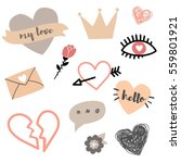 valentine's day vector set of... | Shutterstock .eps vector #559801921