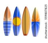 set of surfboards on white...   Shutterstock .eps vector #559807825