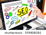 seo concept shown on a computer ... | Shutterstock . vector #559808281