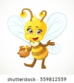 cute bee with clay pot full of... | Shutterstock .eps vector #559812559