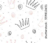 hand drawn pattern with crown.... | Shutterstock .eps vector #559813651
