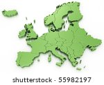 3d rendering of a map of europe | Shutterstock . vector #55982197