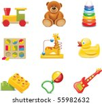 vector toy icons. baby toys | Shutterstock .eps vector #55982632