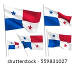 panama vector flags set. 5 wavy ... | Shutterstock .eps vector #559831027