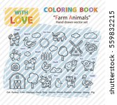 farm animals  icon set.coloring ... | Shutterstock .eps vector #559832215