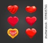 set with cartoon hearts