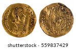 ancient roman gold solidus coin ... | Shutterstock . vector #559837429