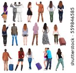 collection back view people .... | Shutterstock . vector #559846585