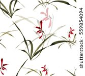 Stock photo seamless floral pattern elegant delicate wild orchids on a white background the style of the 559854094