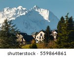 French pyrenees. View of the village of Arrens, in the snowy mountains of the French Pyrenees.
