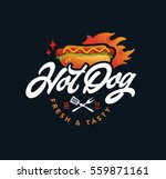 hot dog vector logo  fast food  ... | Shutterstock .eps vector #559871161