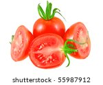 Lush tomatos with  green branch. Isolated - stock photo
