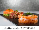 smoked salmon tartare tuna and... | Shutterstock . vector #559880647