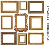 nine antique picture frames... | Shutterstock . vector #55989175