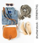 stylish female clothes set.... | Shutterstock . vector #559894741