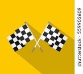 crossed chequered flags icon.... | Shutterstock . vector #559903609