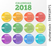 circle calendar 2018 on grey... | Shutterstock .eps vector #559910971