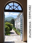 View to villa Melzi in Bellagio at the famous Italian lake Como - stock photo