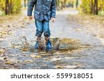 boy in raincoat and rubber...   Shutterstock . vector #559918051