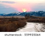 Sunset Over The Mountains Near...