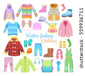 children winter clothes and... | Shutterstock .eps vector #559936711