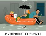 family sitting in an inflatable ... | Shutterstock .eps vector #559954354