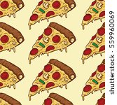 colorful pizza slices seamless... | Shutterstock .eps vector #559960069