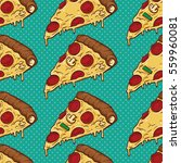 colorful pizza slices seamless... | Shutterstock .eps vector #559960081