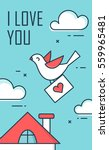the dove with an envelope in... | Shutterstock .eps vector #559965481