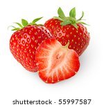 Isolated Strawberries. Three...