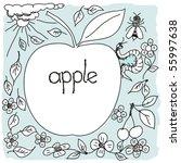 hand drown apple world | Shutterstock . vector #55997638