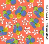 tropical seamless pattern with... | Shutterstock . vector #559984441