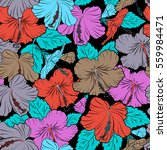 hibiscus floral pattern.... | Shutterstock . vector #559984471