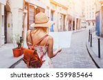 woman tourist looking at the... | Shutterstock . vector #559985464