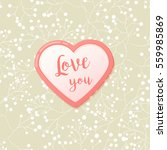 pink hearts with watercolor... | Shutterstock .eps vector #559985869