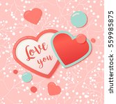 pink hearts with watercolor... | Shutterstock .eps vector #559985875