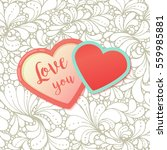 pink hearts with watercolor... | Shutterstock .eps vector #559985881