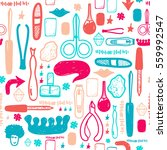 colorful manicure tools hand... | Shutterstock .eps vector #559992547