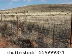 Old Wire Fence Line On Dry Wil...