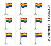 rainbow flag animation. vector...