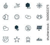 set of 16 ecology icons.... | Shutterstock . vector #560002375