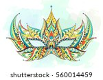patterned mask on the grunge... | Shutterstock .eps vector #560014459