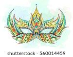 patterned mask on the grunge... | Shutterstock .eps vector #560014459