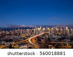 Stock photo beautiful aerial cityscape view of vancouver downtown bc canada picture taken on a cloudy winter 560018881
