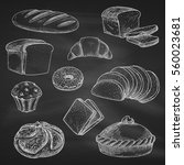 bread icons. chalk sketch on... | Shutterstock .eps vector #560023681