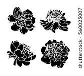 Peony Flower Silhouette Set....