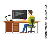 programmer workspace.... | Shutterstock .eps vector #560025265