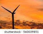 sunset showing wind turbine...   Shutterstock . vector #560039851